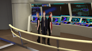 Actors projected on a plane, positioned inside the virtual set