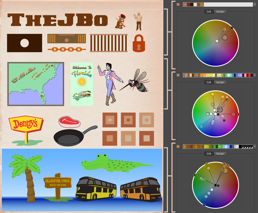 Each of the main scene elements and their palettes